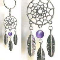 Wholesale Wholesale Native American - DREAMCATCHER NATIVE AMERICAN KEY RING PEWTER PENDANT CHARM AMETHYST GEMSTONE
