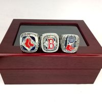 New Arrival Fashion Caixa de madeira Display Rhodium Plated Alloy 2004 2007 2013 Boston Red Sox Custom Championship Rings Set