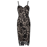 Wholesale Midi Black Lace Dresses - Sexy Lace Dress Female Pspective Oenwork Slim Formal Evening Prom Dresses for Women Deep-V-neck Parisia Black Nude Lace Midi Dresses W2814