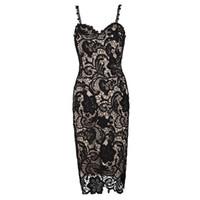 vestido de noche midi mujer al por mayor-Sexy vestido de encaje femenino Pspective Oenwork delgado formal noche vestidos de baile para las mujeres con cuello en V profundo Parisia Negro Vestidos Midi de encaje desnudo W2814