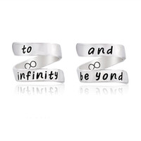 Wholesale China Wife - to infinity and be yond Ring Bowknot Unisex Love Spiral Ring Women Men Lover Family Husband Wife Silver Hand Stamped Jewelry