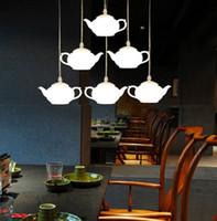 ingrosso illuminazione decorativa domestica-Loft Teiera Drop light Lampada da soffitto a sospensione in acrilico Lampada a sospensione Lampadario Alluminio Home Corridoio Loft Decorare Negozio Cafe