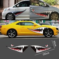 Wholesale Body Exterior - Red Grey Shark Mouth Tooth Teeth Reflective Sticker Vinyl Auto Car Cool Refiting Exterior Decal For Side Door Car Styling