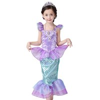 Wholesale The Little Mermaid Fancy Kids Girls Dresses Princess Ariel Cosplay Halloween Costume ankle length puff sleeve dress with mermaid