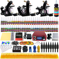 Wholesale Tattoo Gun Tips - Solong Tattoo® Complete Tattoo Kit 3 Pro Machine Guns 54 Inks Power Supply Foot Pedal Needles Grips Tips TK352