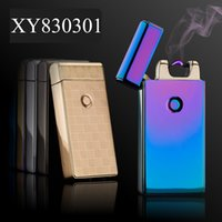Wholesale cigarette lighter cables - Lighter USB Rechargeable Windproof Electric Plasma Arc Lighter Set with USB Charging Cable and Carrying Pouch