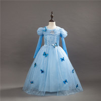 Wholesale fancy kids wear - kids Dresses Princess Cinderella Fancy Ball Party Wear Girl Beauty Halloween Christmas Costume Long sleeve blue girls Dress
