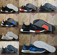 Wholesale Blue Sky Points - 2017 NMD Runner R1 Mesh Triple White Cream Pack Men Women Running Shoes Sneakers Discount Hot Sale Fashion Runner Primeknit With Box