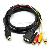 Wholesale rca component video cables - 1.5M HDMI to 3 RCA VGA Video Audio AV Component Cable 50pcs lot Wholesale