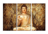 Wholesale Contemporary Art Prints - YIJIAHE Painting Modern Wall Art,Gold buddha Picture Print on Canvas,Contemporary Framed Artwork for Living Room Bedroom Decoration