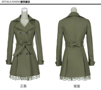 Wholesale Double Breasted Lace Coat - Dust coat Autumn outfit new double-breasted womens yards long Cultivate one's morality lace jacket LHF 302 feiyue
