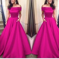 Wholesale Hot Pink Mermaid - 2016 Fuchsia Hot Pink Mermaid Evening Dresses Off the Shoulder Sleeveless Prom Dress Party Evening Gowns