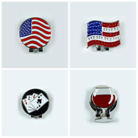 Wholesale wholesale golf hat clips - 2016 New US FLAG Outdoor Alloy Golf Alignment Aiming Tool Ball Marker Magnetic Hat Clip Golf Accessories