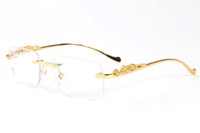 Wholesale Circle Color Lens - 2017 lunettes sexy leopard legs rimless men gold metal frame buffalo glasses women round circle rectangle eyewear sunglasses