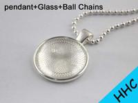 Wholesale Silver Pendant Tray Glass - 50pcs 1 inch Silver Plated Pendant Trays + glass cabochon +Ball Chains kit, Blank Pendant Bases