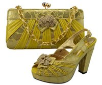 Wholesale Italian Slingbacks - Wholesale doershow Charming Italian Shoes With Matching Bags Rhinestones,Yellow African Shoes And Bags Set for Wedding GF8006 Yellow