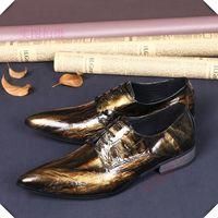 robes de mariée en bronze achat en gros de-Chaussures en cuir pour hommes d'affaires de luxe robe en dentelle à rayures bronze doré Chaussures Oxford Chaussures chaussures plates