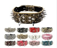 Wholesale extra large dog collar leather mastiff resale online - Spiked Studded Pu Leather Pet Dog Collar For Pitbull Mastiff Size for Many Breeds G1013
