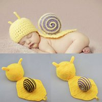 Wholesale Crocheted Baby Animal Costumes - New Cute Snail Pattern Baby Newborn Photography Props Infant Animal Knitting Handmade Crochet Hat Costume Outfits