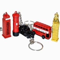 metal vermelho de ônibus venda por atacado-Cabine de telefone vermelha do reino unido Reino Unido do estilo, ônibus de Londres, táxi, Big Ben, keychain do modelo 3D da caixa postal para o presente