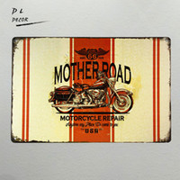 DL-Vintage home decor Mother Road Route 66 Riparazione moto Tin Metal Sign garage wall art decor