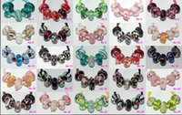 Wholesale Glass Silver Core Beads - 100 Pcs Mixed 925 Silver Core Murano Glass Lampwork beads For Pandora European Charms bracelets B188