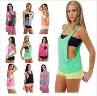 Wholesale Tshirt Tanks Wholesale - 50pcs Sexy Women's Tank Top Vest Sport T-Shirt Loose Fitness Gym Sleeveless Vest for Running Training tshirt A002