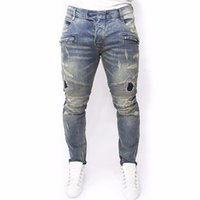 Wholesale clothes skinny men online - Plus Size New Men Brand Clothing Casual Mens Jeans Skinny Slim Biker Jeans Denim Long Pants ripped jeans homme