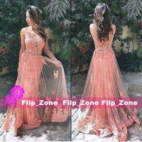 Wholesale Sheer Coral Dress - Sexy Backless Coral Lace 2016 A-Line Evening Dresses with Sheer Scoop Neck Straps Applique Skirt Tulle Plus Size Prom Party Formal Gowns