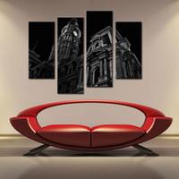 ingrosso grandi pitture di tela per arredamento casa-4 Panle Black White Wall Art della Gran Bretagna London Big Ben Clock Tower Pittura a olio su tela Modern Art Home Decor For Living Room