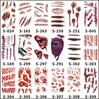 Wholesale Wholesale Tattoos Horror Temporary - halloween costumes halloween decorations Waterproof Temporary Tattoo Sticker scars halloween costume, non-toxic, Size 4.1''*2.3