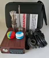 Wholesale E 14 - Portable Titanium Quartz ENAIL Electric dab nail PID Temperature Control E Nail kit wax vaporizer 14 18MM oil rig dabber box glass bong