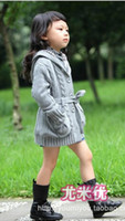 Wholesale New Fashion Baby girl cardigan knit sweater Children clothing spring and Autumn hooded fleece warmer with belt T