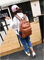 Wholesale Trend Laptop Bags - Fashion trend PU backpack Lady of leisure Travel bag Backpack computer bag Laptop bag High school college