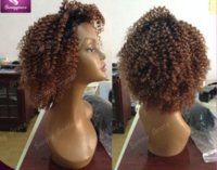 Wholesale Short Afro Kinky Curl - Unprocessed brazilian hair kinky curl front lace wig full lace wig natural hairline glueless ombre bob human hair wig for black women