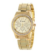 Wholesale geneva quartz watches online - Fashion luxury women ladies geneva diamond watch Metal Steel Alloy mens dress quartz wrist watches hot for women