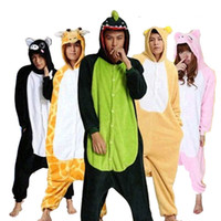 Wholesale onesies kigurumi pajamas - Wholesale Unicorn Panda Dinosaur Unisex Flannel Hoodie Pajamas Anime Costumes Cosplay Animal Kigurumi Onesies Sleepwear For Men Women Adults