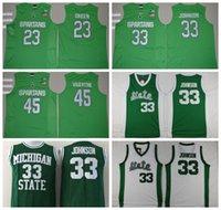 Wholesale Spandex Valentine - Michigan State Spartans Jerseys 2016 College Throwback 33 Magic Johnson Shirt Green White Uniform 45 Denzel Valentine 23 Draymond Green