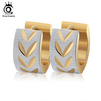 Wholesale Gold Layer Earrings - 3 Layers Gold Plated Hoop Earrings with Gold Leaf Simplify Earring Girl Woman Nice Jewelry GTE13