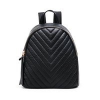Wholesale 2016 spring summer new style fashion texture head layer cowhide V thread backpack bag women bag black backpacks