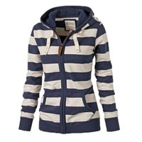 Wholesale Cardigan Sweaters Large Women - Hooded zipper Sweatshirt Europe And America In Autumn And Winter New Large Size Long-Sleeved Striped Hooded Zipper Cardigan Sweater 6325