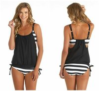 Wholesale Conjoined Bikini - 2016 Europe United States Best Selling New Hot Style Black and White Stripe two-piece Conjoined Bikini Women's Swimming Suit High Quality