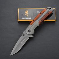 ingrosso coltelli tascabili-Browning DA43 Titanium Coltelli pieghevoli 3Cr13Mov 55HRC Manico in legno Tattico Caccia da campeggio Tasca sopravvivenza Utility Strumenti EDC Collezione Man