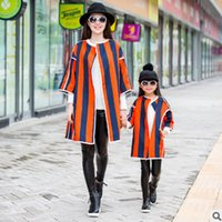 Wholesale Womens Cotton Overcoats - Mother and dauther outwear christmas girls stripe cardigan overcoat womens half sleeve trench coat boys jacket family clothing T0496