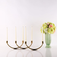 Wholesale 2 Branches New Design Gold Modern Candle Stand Decorative Unique Metal Candle Holder Matching Stick Candle Home Accessories Decoration