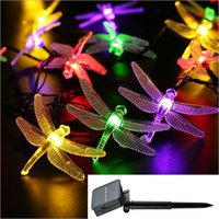 Wholesale Solar Dragonflies - LED Dragonfly Outdoor Solar String Bulbs Total 6meters 30 LEDs Waterproof Fairy Lighting for Christmas Trees, Garden, Patio,Festival