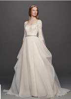 Wholesale 34 Sleeve Wedding Dress - Custom-Made 2016 Free Shipping EXTRA LENGTH Oleg Cassini Organza Ball Gown Dress with 34 Sleeve Style Wedding Dresses