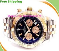 Wholesale Mens Watch Chronomat - Luxury Wristwatch Brand BB CB0110 Chronomat Two Tone Stainless Steel Chronography Mens Watch