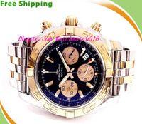 relojes cronomat al por mayor-Reloj de pulsera de lujo marca BB CB0110 Chronomat dos tonos acero inoxidable cronografía para hombre reloj