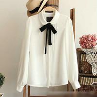 Wholesale Peter Pan Collar Chiffon Top - Fashion female elegant bow tie white blouses Chiffon peter pan collar casual shirt Ladies tops school blouse Women Plus Size